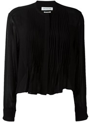 Isabel Marant A Toile Pleated Bib Peplum Shirt Black