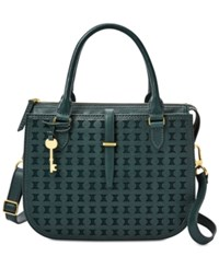 Fossil Ryder Perforated Satchel Teal Gold