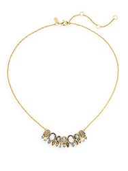 Alexis Bittar Elements Punk Labradorite Pyrite And Crystal Seven Oval Pendant Necklace Gold