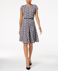 Jessica Howard Petite Belted Fit And Flare Dress Black Grey