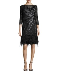 3 4 Sleeve Lace Cocktail Dress With Feather Hem Black Rickie Freeman For Teri Jon
