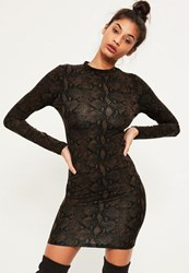 Missguided Brown Dark Snake Print Bodycon Dress