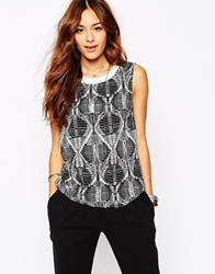 Vila Aztec Print Shell Top White