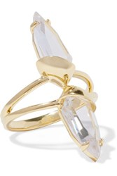 Noir Jewelry Set Of Three Gold Tone Crystal Rings 7