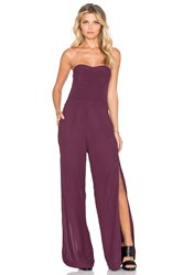 Twelfth St. By Cynthia Vincent Strapless Side Slit Jumpsuit Burgundy