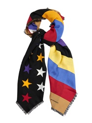 Givenchy American Flag Print Wool And Silk Blend Scarf