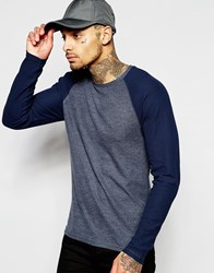 Asos Waffle Jersey Muscle Long Sleeve T Shirt With Contrast Raglan Navy Blue