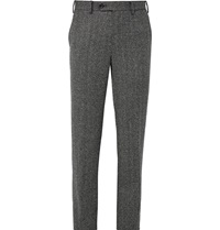 Wooyoungmi Wool Blend Herringbone Tweed Trousers Gray