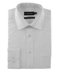 Double Two Plain Poplin 100 Cotton Shirt White