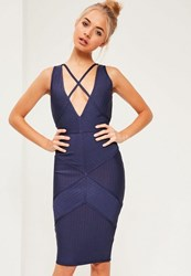 Missguided Premium Navy Bandage Harness Detail Midi Dress