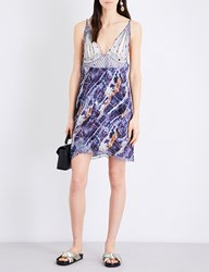 Christopher Kane Marble Print Embroidered Crepe Georgette Mini Dress Blue Marble