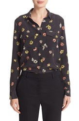 The Kooples Women's Floral Polka Dot Silk Shirt