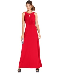 Sangria Sleeveless Keyhole Gown Carnation