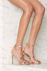 Nasty Gal In For The Thrill Strappy Heel Rose Gold Metallic
