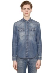 Maison Martin Margiela Stone Washed Bleached Cotton Denim Shirt