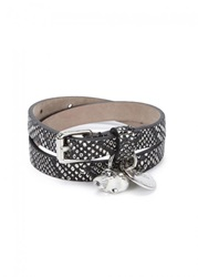 Mens Jewellery Alexander Mcqueen Snake Effect Skull Embellished Leather Wrap Bracelet Black And White