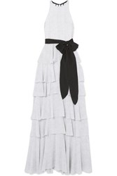 Halston Heritage Tiered Polka Dot Chiffon Gown Off White