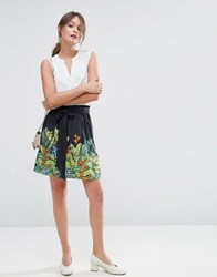 Oasis Tropical Print Skater Skirt Black