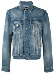 Balenciaga Explorer Logo Denim Jacket Blue