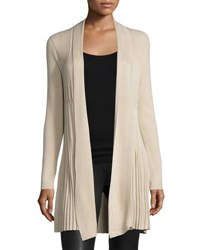 Neiman Marcus Pleated Long Sleeve Open Front Cardigan Black