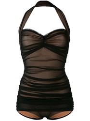 Norma Kamali Mesh Panel Swimsuit Black