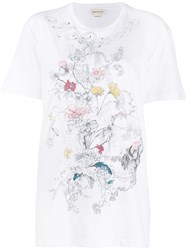 Alexander Mcqueen Printed Skull And Flowers T Shirt White