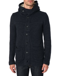 Menlook Label Bryan Thick Weave Wool Blend Denim Cardigan