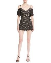 Alice Olivia Drixa Cold Shoulder Lace Romper Black White