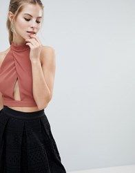 Oh My Love High Neck Cut Out Crop Top Copper
