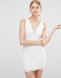 Love And Other Things Lace Dress With Lace Up Front White