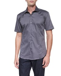 Bogosse Printed Short Sleeve Woven Shirt Gray Pattern