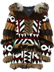 Dsquared2 Oversized Panelled Fur Coat Brown