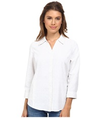 Royal Robbins Expedition Stretch 3 4 Sleeve Print White Women's Long Sleeve Button Up