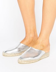 Park Lane Leather Metallic Mule Espadrille Shoe Silver