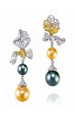 Anna Hu Haute Joaillerie Rose Ribbon Collection Rose Ribbon Earrings In Pearl Green