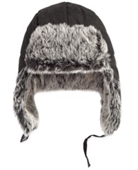Levi's Men's Trapper Hat With Faux Fur Trim Black