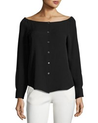 Theory Auriana Off The Shoulder Georgette Shirt Black