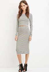 Forever 21 Striped Bodycon Midi Skirt Olive Heather Grey
