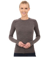 Smartwool Nts Mid 250 Crew Top Taupe Heather Aubergine Women's Long Sleeve Pullover