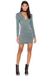 Krisa Asymmetrical Surplice Mini Dress Sage