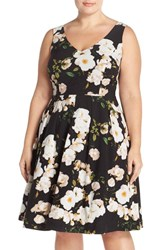 Plus Size Women's City Chic Floral Print Fit And Flare Dress