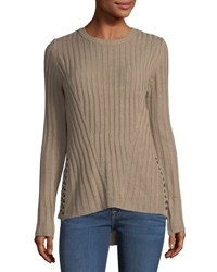 Sweet Romeo Ribbed Knit Lace Up Sweater Brown