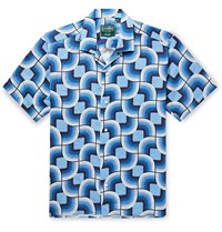 Gitman Brothers Vintage Camp Collar Printed Linen Shirt Blue