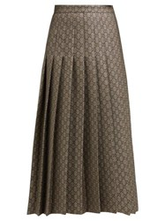Gucci Gg Monogram Pleated Cotton Blend Midi Skirt Grey Multi