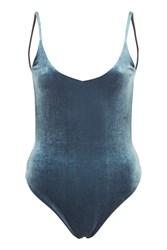 Topshop Velvet Swimsuit Navy Blue