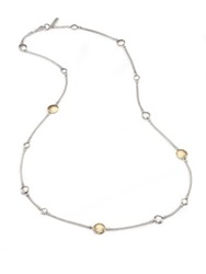 John Hardy Palu 18K Yellow Gold And Sterling Silver Station Sautoir Necklace Silver Gold