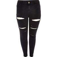 River Island Womens Plus Black Ripped High Rise Going Out Jeans