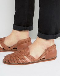 Asos Woven Sandals In Tan Leather Tan