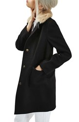 Topshop Women's Faux Fur Collar Coat