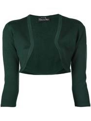 Oscar De La Renta Cropped Fitted Cardigan Green